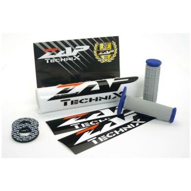 ZAP Set – Lenkerpolster weiß + 2 Sticker + MX-Griffe Grau/Blau + Donuts