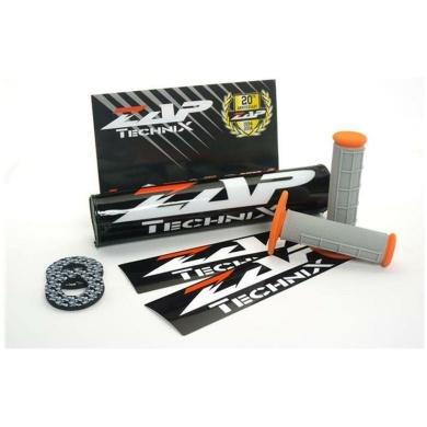 ZAP Set – Lenkerpolster schwarz + 2 Sticker + MX-Griffe Grau/Orange + Donuts