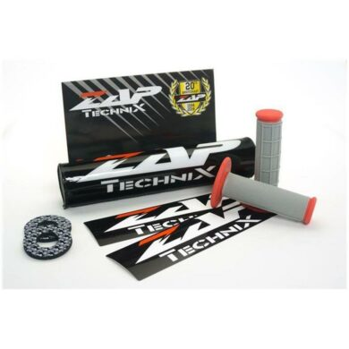 ZAP Set – Lenkerpolster schwarz + 2 Sticker + MX-Griffe Grau/Rot + Donuts