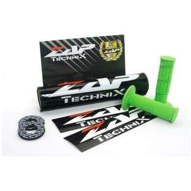 ZAP Set – Lenkerpolster schwarz + 2 Sticker + MX-Griffe Grün + Donuts