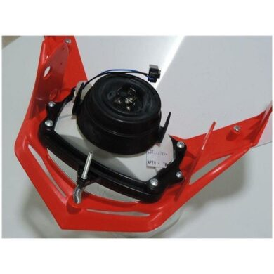 Scheinwerfer Motorrad Lampenmaske V-Face rot/weiß universal 35/35W + 2