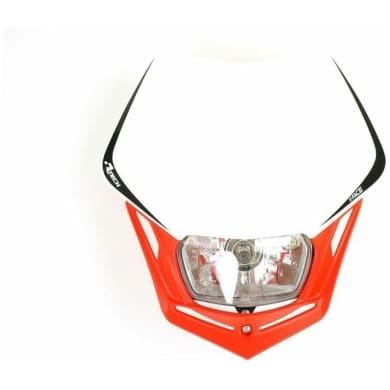Scheinwerfer Motorrad Lampenmaske V-Face rot/weiß universal 35/35W +