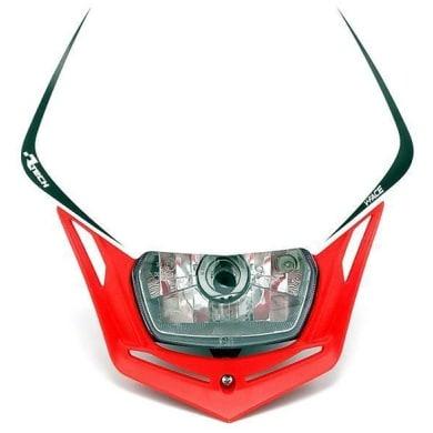 Scheinwerfer Motorrad Lampenmaske V-Face rot/weiß universal 35/35W + Standlicht, R-MASKBNRS008