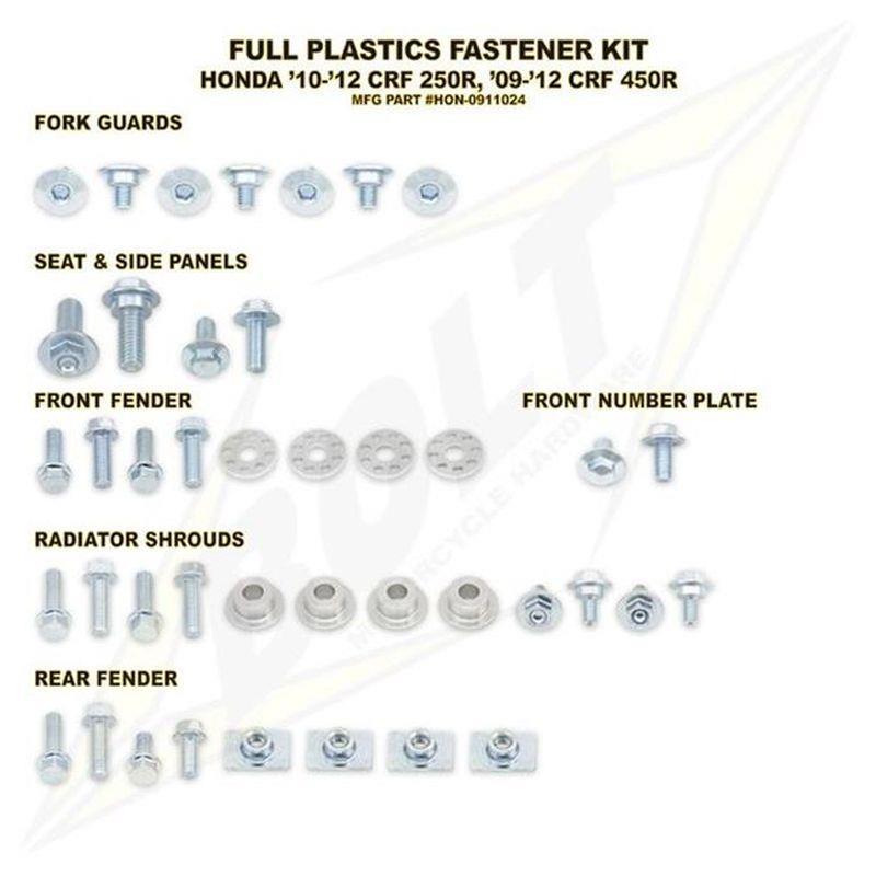 BOLT Schraubenkit für Plastikteile CRF 450 09-12, CRF 250 10-13 3