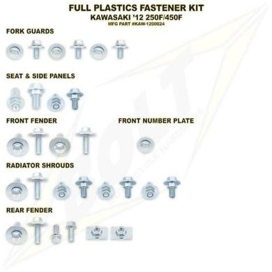 BOLT Schraubenkit für Plastikteile Kawasaki KX 125/250 03-07, KXF 250 04-16, 450 05-15